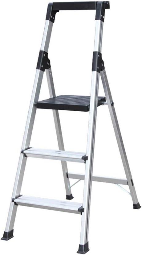 Su bai Escaleras plegables Bandeja superior for herramientas Escalera ancha Aleación de aluminio Escalera de ingeniería doméstica de tres pasos, Plata, Negro pedal (Color : Silver): Amazon.es: Bricolaje y herramientas