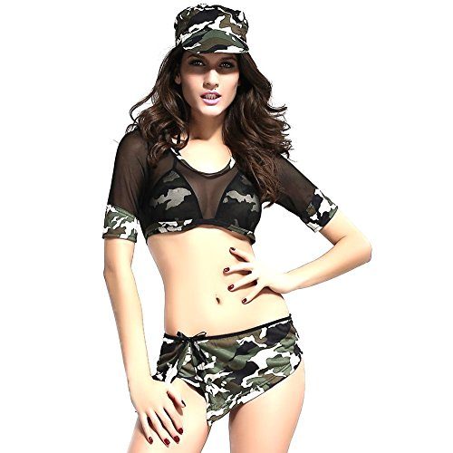 iecool Women's Sexy Soldier Girl Costume One Size (Sexy Soldier Costumes)