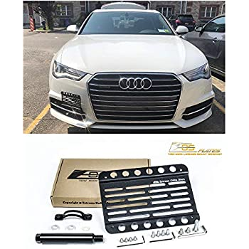 For 11-Up Audi A6 S6 C7 Front Bumper Tow Hook License Plate Mount Bracket NO PDC