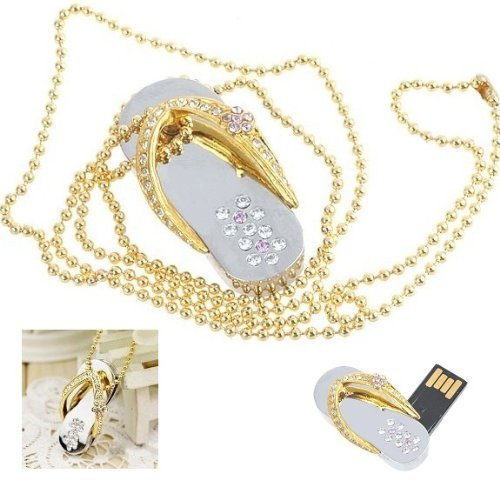 Crystal Diamond Slipper Jewelry USB Flash Drive with (Usb Flash Drive Necklace)
