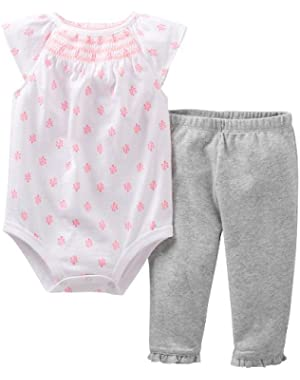 Carters Baby Clothing Outfit Girls 2-Piece Smocked Bodysuit Onesie & Pant Set