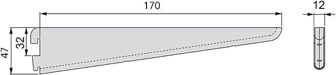 Set de 20 piezas Emuca 7908812 Escuadras de estante para perfil cremallera perforaci/ón doble paso 32mm 320mm Blanco