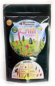 Heirloom Organics NON-GMO Chili Pepper Seeds - 12 Varieties Non-Hybrid Chili Pepper Seeds - Hermetically Sealed for Long Term Storage