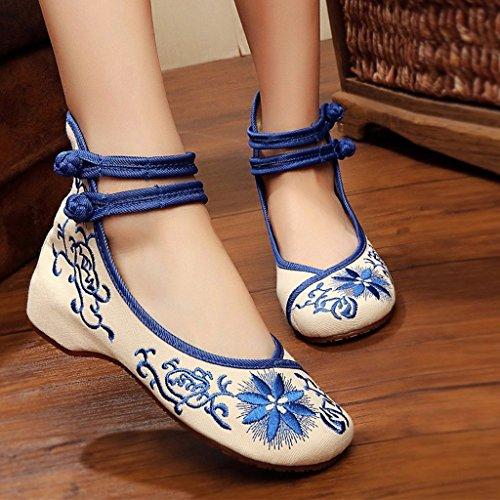 verano Zapatos Zapatos Zapatos tela nacional Azul de de 39 ballet Color Azul de Tama de bordados de Mary Jane o viento mujer Zapatos qwz48qIxr