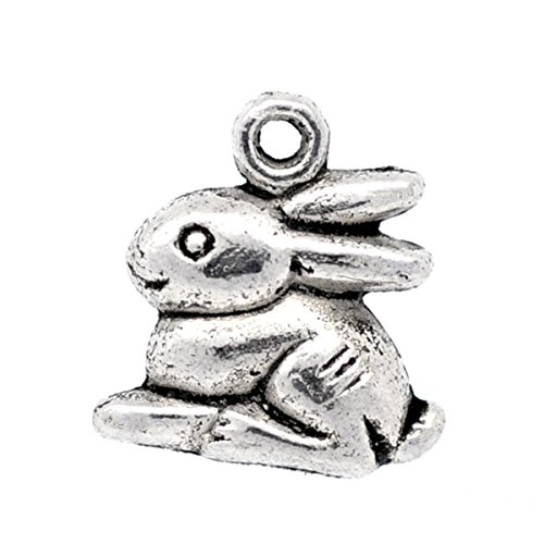 Housweety 50 Silver Tone Rabbit /Bunny Charm Pendants (Rabbit Charms Pendant)