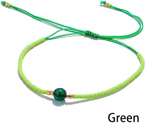 green boho bracelet Emerald green bracelet friendship bracelet braid bracelet with chain