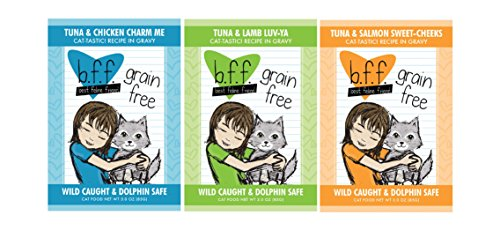 51CbMkGRLbL - BFF 3 Oz Cat Food Variety 12 Pouches with 3 Flavors – Tuna & Chicken Charm Me, Tuna & Lamb Luv-Ya, and Tuna & Salmon Sweet-Cheeks