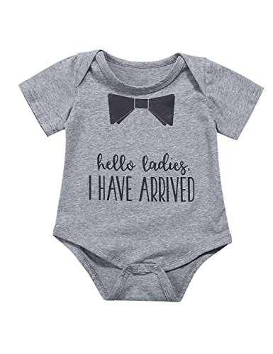 Kidlove Cute Toddler Baby Boys One-Pieces Bowknot Print Short Sleeve Cotton Romper Bodysuit Outfits Grey 9-12