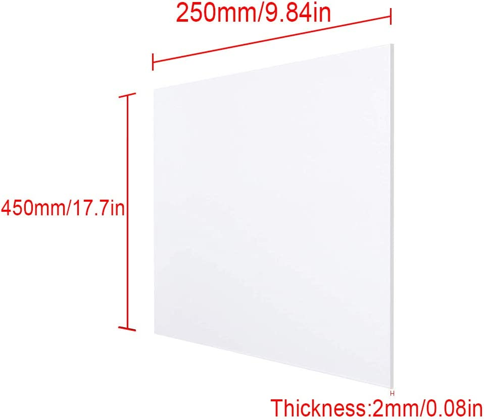 Wzqwzj Polycarbonate Plastic Sheet Clear Plastic Plexi Board for DIY Industrial Crafts Thickness:2mm,Size:250500mm