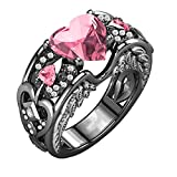 HUAMING Love Ring, Rings with 3 Heart Simulated Birthstones Ring,Ruby Ring,Engagement Ring Silver Natural Ring for her (Pink, 8)