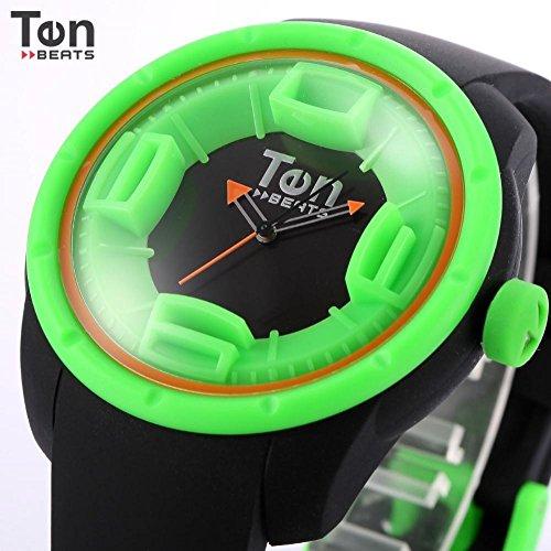 LNTGO Ten Beats Green Black 3D Dial Round Face Relogio Feminino Rubber Strap Quartz Analog Fashion Women Luminous Color Watch-Bf130204
