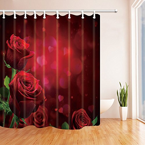 NYMB Flower Decor, Roses for Lover in Valentine Day, Polyester Fabric Waterproof Bath Curtain, 69X70ines, Shower Curtain Hooks Included, Red