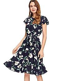 Floerns Women's Floral Print Ruffle Tie Waist Summer Chiffon Dress