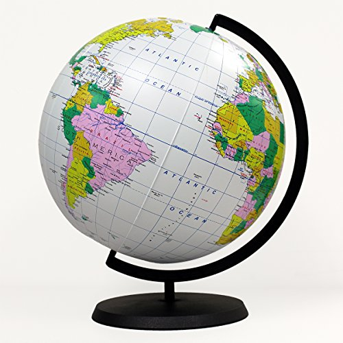 Educational Inflatable Globe Of The World - 12 Inch Blow Up Earth Ball With Stand For Kids - Large Accurate Political Map Desktop Globes - Giant Planet Earth Classroom Learning ()