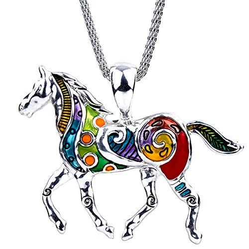 Love Horses Pendant - DianaL Boutique Large Colorful Silver Tone Horse Pendant Necklace on 19