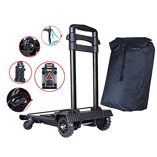 (ZCM-Trolley Luggage cart, Hand Truck Foldable, Dolly cart, 45 kg Load Capacity, Pull Rod with Shopping Hook, Rotating Platform, with Warning Logo Design,Suitable for Luggage, Travel, Moving,)