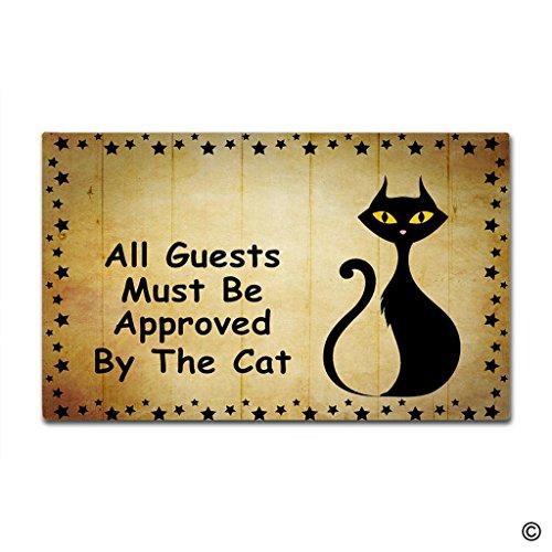 MsMr Doormat Entrance Floor Mat - Funny Doormat All Guests Must Be Approved By The Cat Designed Indoor Outdoor Door Mat Non-woven Fabric Top 23.6x15.7Inch