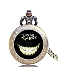Cheshire Cat Pocket Watch, Smiling Cat Pocket Watches, Small Watches Gifts for Kids