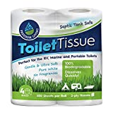 Septic Tank Safe Toilet Tissue (2-Ply, 4 Rolls) for RV, Camping & Marine, Biodegradable, Natural Alternative to Septic System Treatment Chemicals, Cleaner, Enzymes, Chlorine Tablets