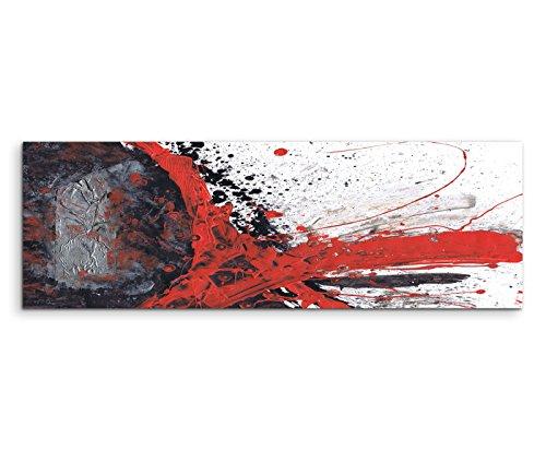 150x50cm Panoramabild abstrakt Leinwanddruck Kunstdruck Wandbild rot schwarz grau weiß gemalt
