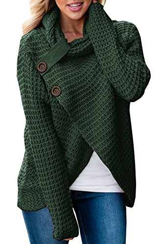 Huiyuzhi Women Button Down Long Sleeve Turtleneck Knit Hooded Cardigan Sweater Coat (XL, Army (Turtleneck Sweater Coat)