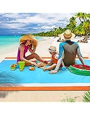 Beach Blanket Sand Free Waterproof Beach Mat Outdoor Pocket Picnic Blanket Lightweight Portable Picnic Blankets Fast Drying Sand Proof Mat for Travel, Camping, Hiking