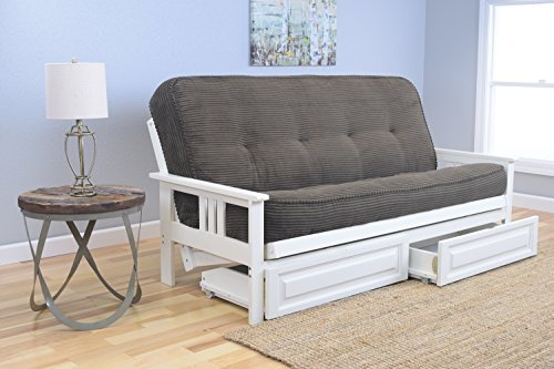 Kodiak Furniture KFMODAWTESPLF5MD4 Monterey Futon Set with Antique White Finish and Storage Drawers, Full, Tantra Espresso by Kodiak Furniture