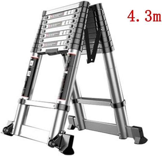 ZPWSNH Escalera telescópica para Uso doméstico, sección de bambú portátil, Subida y Bajada Escalera de ingeniería ático Escalera en Espiga Escalera de Aluminio de Doble Cara Taburete: Amazon.es: Hogar