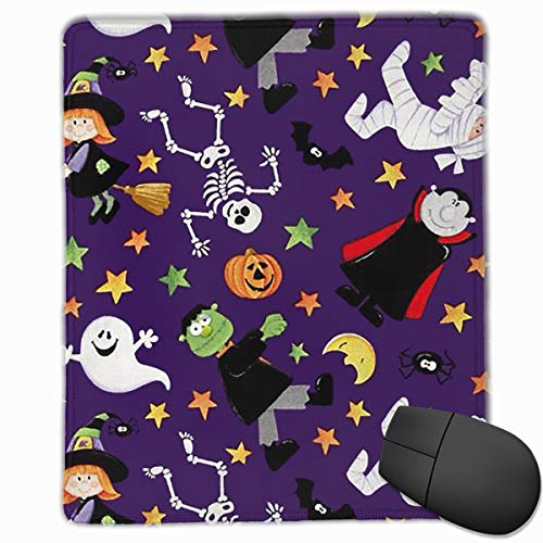 Mouse Pad Halloween Witch Skull Pumpkin Background Personalized Mouse Pad Non-Slip Mouse Mat Gaming Mouse Pad