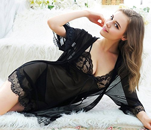 Lingerie Black Sleepwear Lace Sexy Chemise Nightgown Dress Women Pajamas Night RaxzdFFqn