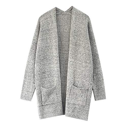 Manches Cardigan Deux À Top Gris Tricot Femme Hiver Manteau Laemilia Poches Sweater Vester En Casual Automne Longues xSvXqwwd