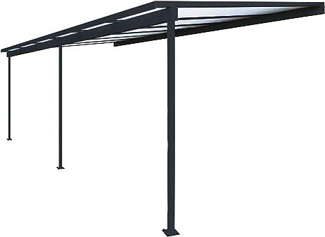 Pérgola de aluminio para fijar al techo, adosada, de policarbonato (10 mm) con canaleta, color gris, color Gris ral 7016, tamaño 6000 x 3000 mm