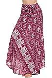 Zeagoo Women Long Bohemian Floral Print Hippie Skirt Summer Beach Maxi Skirts, XX-Large, Wine Red