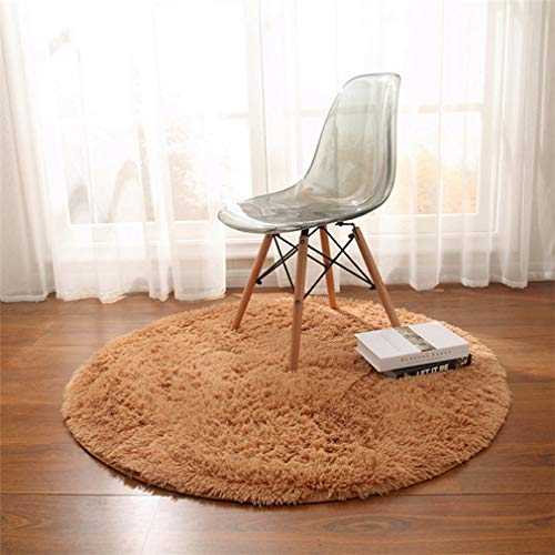 GIY Shag Solid Round Area Rugs Soft Plush Living Room Carpet Children Bedroom Rug Bathroom Mats Home Decorate Non-Slip Modern Circular Runners Sky Blue 3' X 3' (Baja Square Rug)