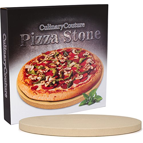 Pizza Stone for Grill and Oven - 15 Inch 3/4'' Extra Thick - Cooking & Baking Stone for Oven and BBQ Grill - With Durable Foam Packaging, Gift Box & Pizza Recipes EBook by Culinary Couture