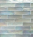 1x4 Tresor Collection (TM) Handcut Glass Mosaic, Ocean Foam Luster