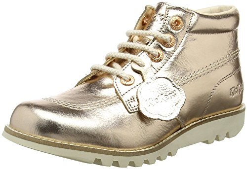Kickers Kick Hi Rose Gold Leather Womens Mid Boots-41 - Kickers Womens Kick