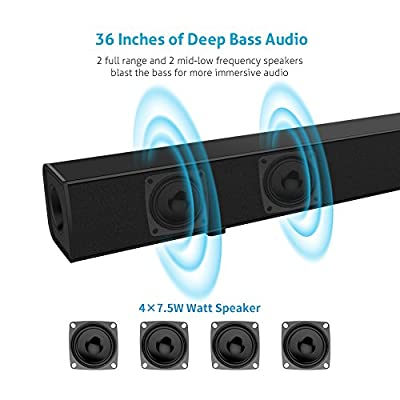 Sound Bar [Upgraded Version] Meidong Sound Bars for TV 36 inch Wireless and Wired Bluetooth Soundbar Home Theater Surround Speakers with Optical Cable and Remote Control