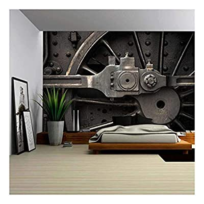 Old Steam Engine Train Wheels and Parts Close-Up - Removable Wall Mural | Self-Adhesive Large Wallpaper - 100x144 inches