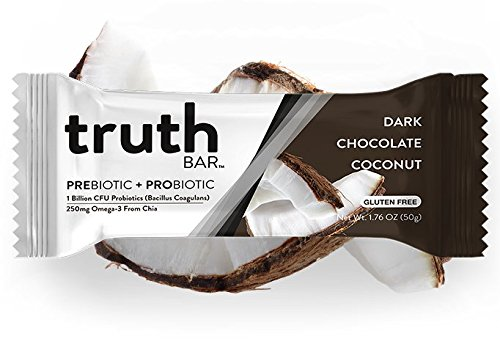 Truth Bar (Prebiotic + Probiotic) – Dark Chocolate Coconut (12 Pack) – Low Sugar, Vegan, Gluten Free, High fiber, Soy Free, Non-GMO, Kosher, Vegan Nutrition Snack Bar with Premium Dark Chocolate