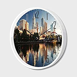 Non Ticking Wall Clock Silent with Metal Frame HD Glass Cover,City,Idyllic View of Yarra River Melbourne Australia Architecture Tourism,for Office,Bedroom,10inch