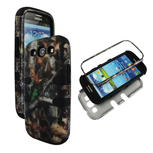 Samsung Galaxy S3 Camo - Hybrid 3 in 1 Black Camo Trunk V Samsung Galaxy S3 / S 3 / III i9300 High Impact Shock Defender Plastic Outside with Soft Silicon Inside Drop Defender Snap-on Cover Case