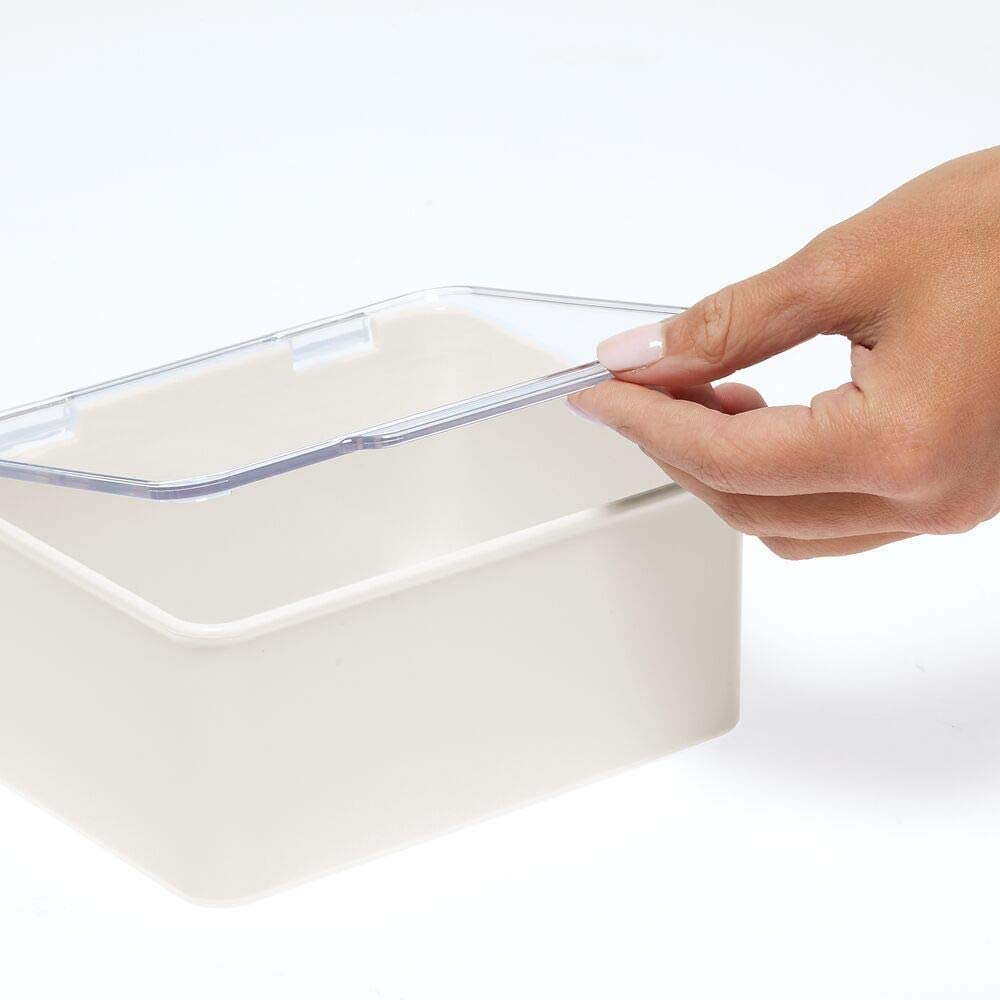 Costurero apilable para lanas transparente y crema abalorios o cintas mDesign Caja organizadora para accesorios de costura o manualidades Peque/ño organizador de pl/ástico con tapa