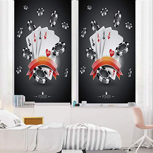 Poker Tournament Decorations 3D No Glue Static Decorative Privacy Window Films, Artistic Display Spread Chips with Poker Cards Lifestyle Decorative,24