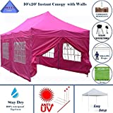 10'x20′ Ez Pop up Canopy Party Tent Instant Gazebos 100% Waterproof Top with 6 Removable Sides Pink – E Model By DELTA Canopies Review