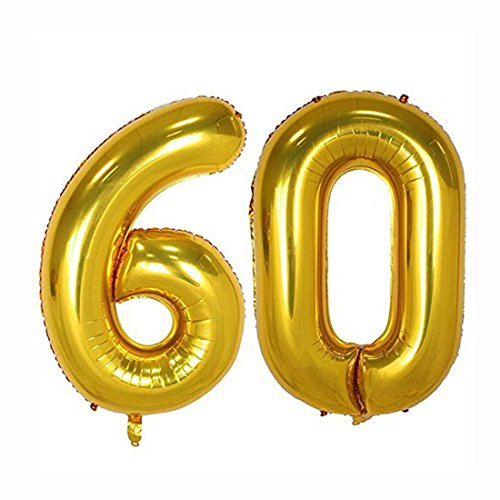 40inch Gold Foil 60 Helium Jumbo Digital Number Balloons, 60th Birthday Decoration for Women or Men, 60 Year Old Birthday Party Supplies]()