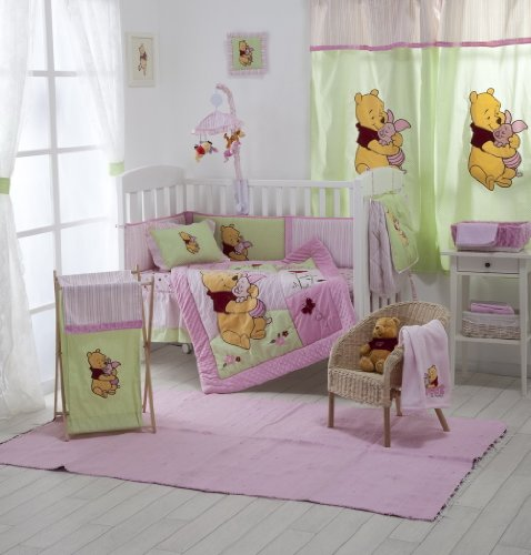 [Pink Winnie The Pooh] Crib Bedding Set Bedding Collection (4PC Bedding Set + 1 set Curtain) by Blancho