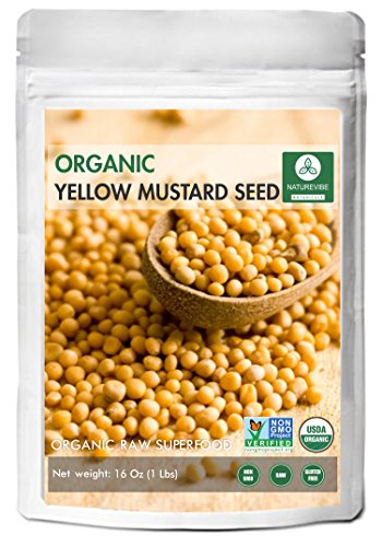 Organic Yellow Mustard Seeds (1lb) by Naturevibe Botanicals, Gluten-Free & Non-GMO (16 ounces)
