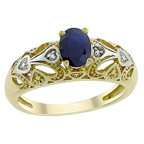 14k 6x4mm Oval Sapphire Ring (14K Yellow Gold Natural Blue Sapphire Ring Oval 6x4 mm Diamond Accent, size 8.5)