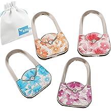kilofly Purse Hook [Set of 4] - Foldable Patterned Floral Handbags + KF Pouch